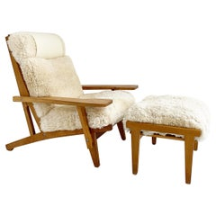 Hans Wegner Model GE 375 Paddle Chair and Ottoman in California Sheepskin