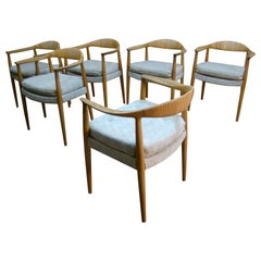 "Hans Wegner Model JH501 ""the Chair"" Set of Six Dining Chairs in Oak/Cane Denmark"