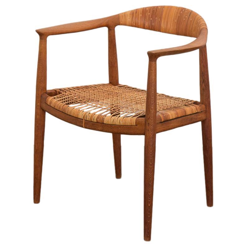 Hans Wegner Oak and Cane Round Chair