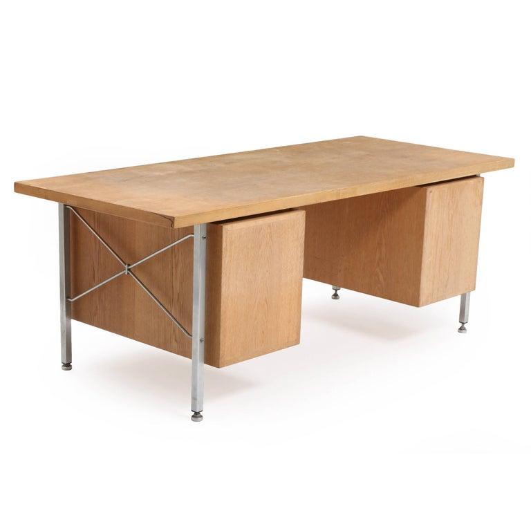 Remarkable Hans Wegner Oak And Steel Desk Made By Johannes Hansen Or Plan Mobler Download Free Architecture Designs Ferenbritishbridgeorg