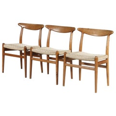 Hans Wegner Oak and Wicker Chairs for C.M. Madsen, Denmark 1950s, Set of 3
