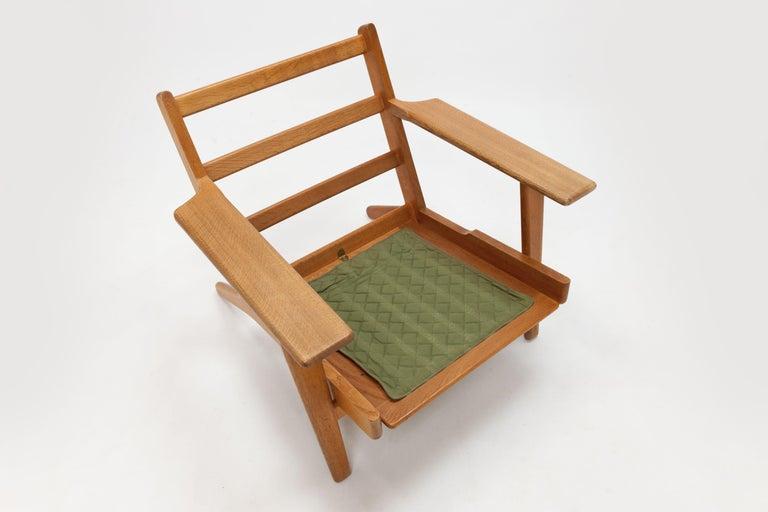 Hans Wegner Oak Lounge Chair GE290 by GETAMA '1 of 3 Chairs' 4