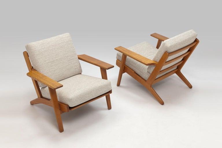 Hans Wegner Oak Lounge Chair GE290 by GETAMA '1 of 3 Chairs' 8