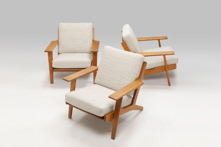 Hans Wegner Oak Lounge Chair GE290 by GETAMA '1 of 3 Chairs' 10