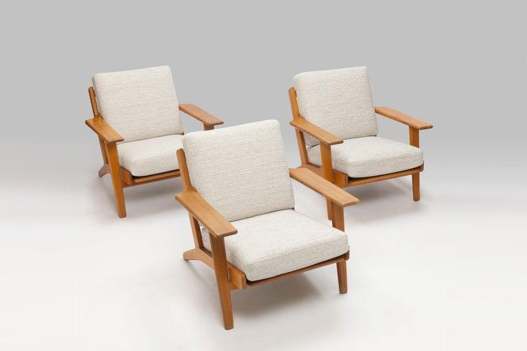 Hans Wegner Oak Lounge Chair GE290 by GETAMA '1 of 3 Chairs' 11