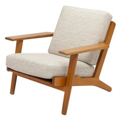 Hans Wegner Oak Lounge Chair GE290 by GETAMA '1 of 3 Chairs'