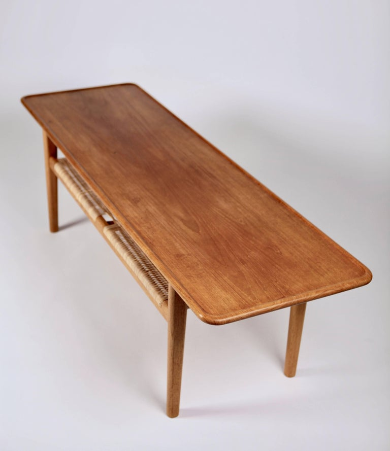 Cane Hans Wegner Occasional Table AT-10 by Andreas Tuck, 1950s For Sale