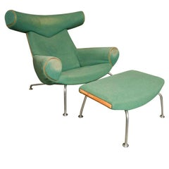 Hans Wegner Ox Chair and Ottoman