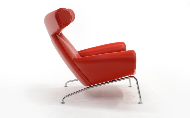 Scandinavian Modern Hans Wegner Ox Lounge Chair, Model No. AP-46, New Red Leather, Excellent For Sale