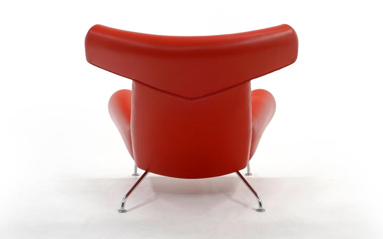 Danish Hans Wegner Ox Lounge Chair, Model No. AP-46, New Red Leather, Excellent For Sale