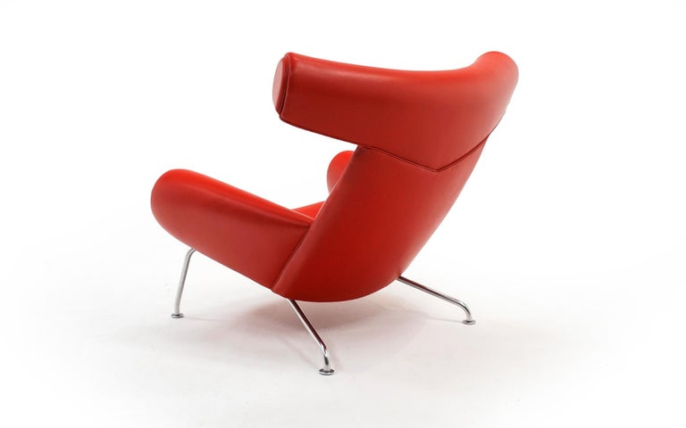 Hans Wegner Ox Lounge Chair, Model No. AP-46, New Red Leather, Excellent In Excellent Condition For Sale In Kansas City, MO