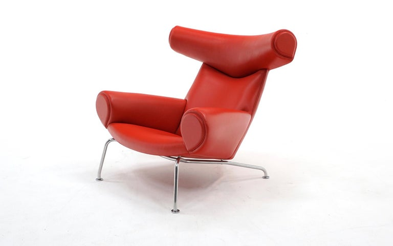 Mid-20th Century Hans Wegner Ox Lounge Chair, Model No. AP-46, New Red Leather, Excellent For Sale
