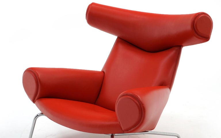 Hans Wegner Ox Lounge Chair, Model No. AP-46, New Red Leather, Excellent For Sale 1