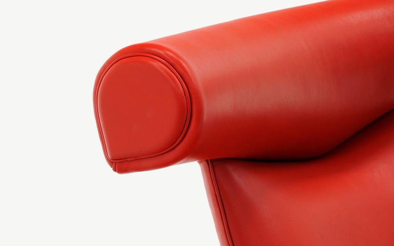 Hans Wegner Ox Lounge Chair, Model No. AP-46, New Red Leather, Excellent For Sale 2