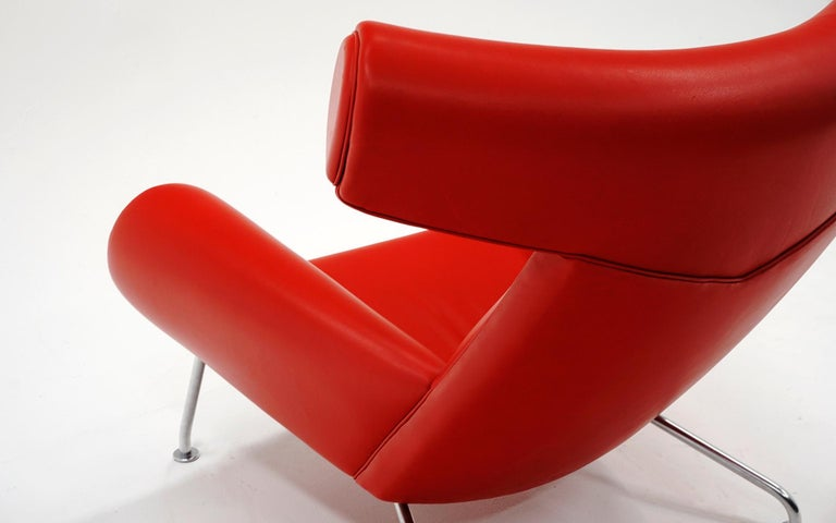 Hans Wegner Ox Lounge Chair, Model No. AP-46, New Red Leather, Excellent For Sale 3