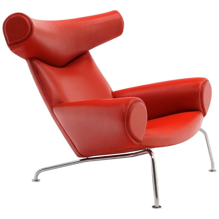Hans Wegner Ox Lounge Chair, Model No. AP-46, New Red Leather, Excellent For Sale