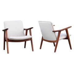 Hans Wegner Pair of Burmese Teak and Off-White Linen Canvas Covered Armchairs