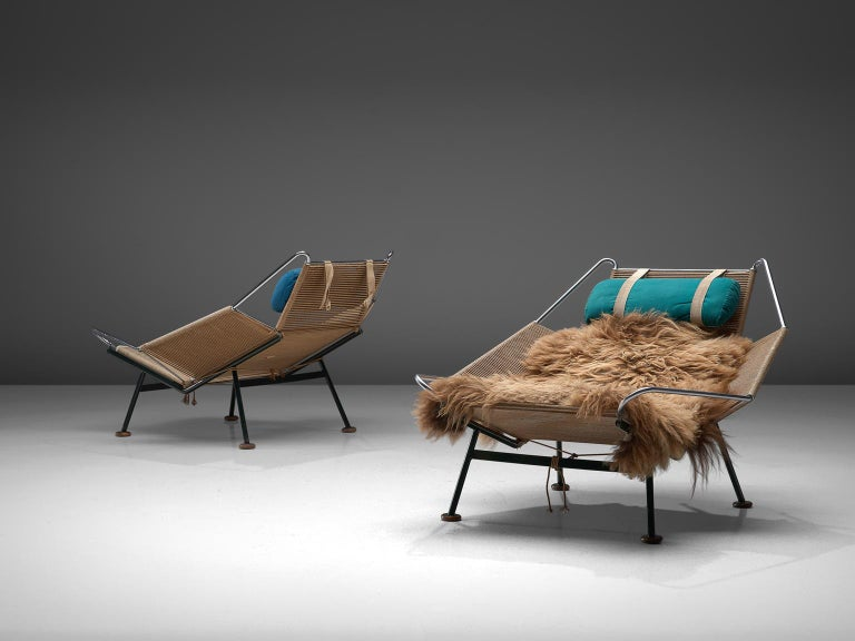 Danish Hans Wegner Pair of Early Flag Halyard Chairs For Sale