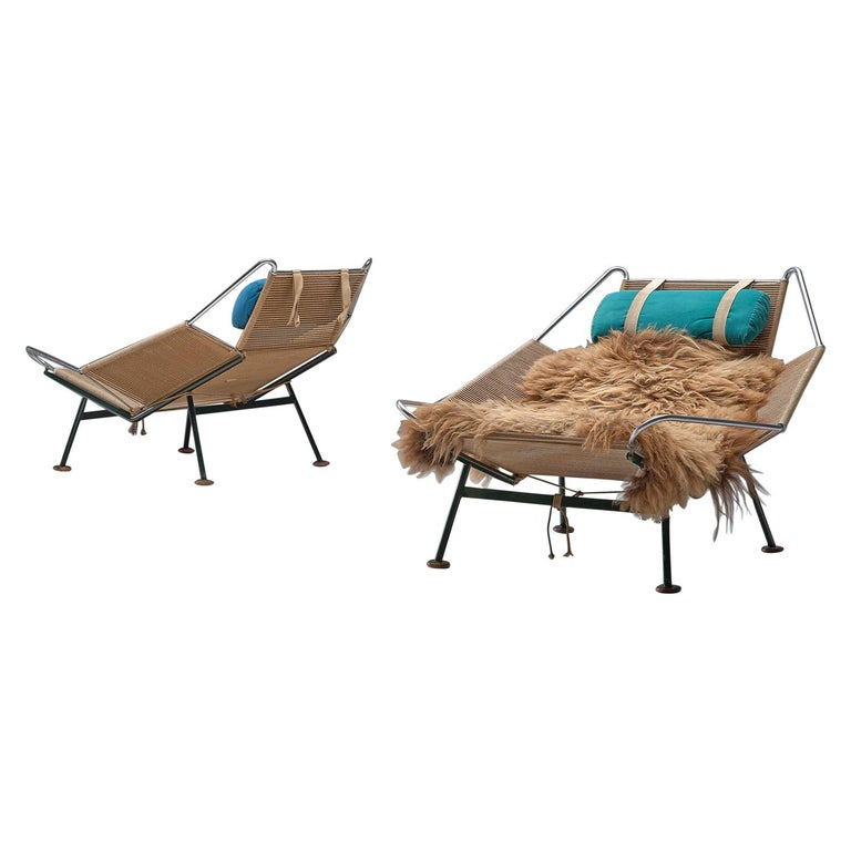 Hans Wegner Pair of Early Flag Halyard Chairs For Sale