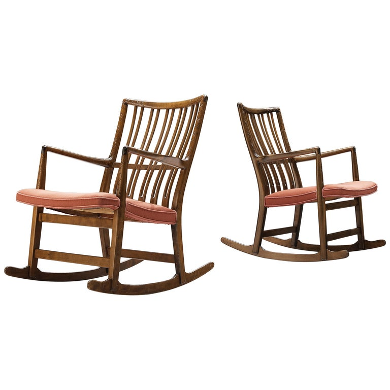 Hans Wegner Pair of Early 'ML-33' Rocking Chairs For Sale