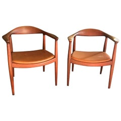 Hans Wegner Pair of Iconic Midcentury Signed Stamped Original Round Chairs