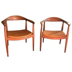 Hans Wegner Pair of Iconic Signed Stamped Midcentury Original Round Chairs