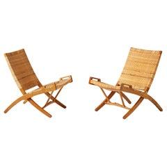 Hans Wegner Pair of JH-512 Oak Folding Chairs, 1949