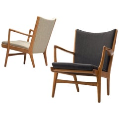 Hans Wegner Pair of Lounge Chairs 'AP-16' in Black and White Upholstery