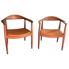 Hans Wegner Pair of Original Round Chairs