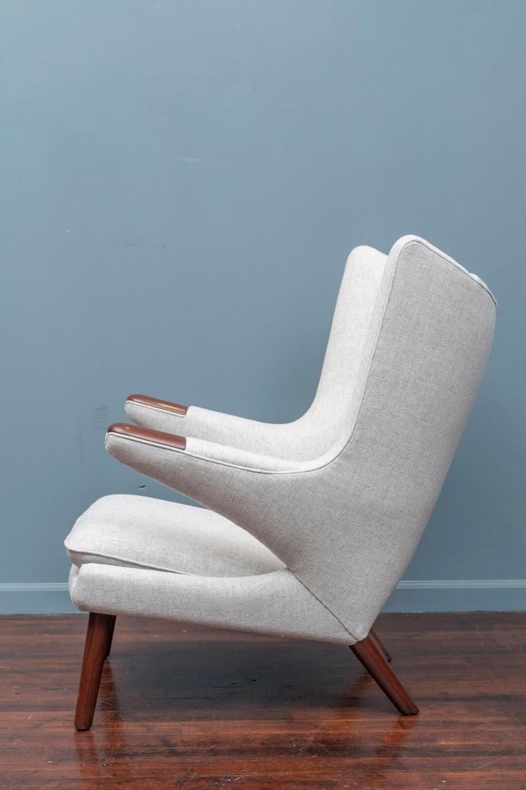 Danish Hans Wegner Papa Bear Chair and Ottoman for A.P Stolen For Sale
