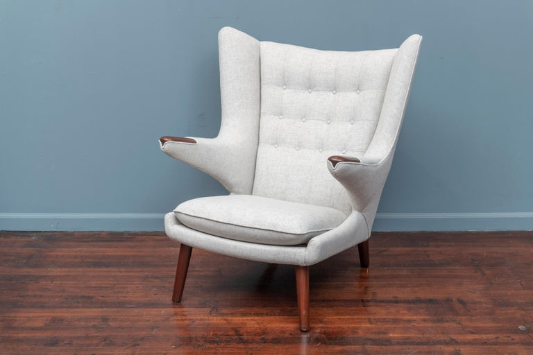Hans Wegner Papa Bear Chair and Ottoman for A.P Stolen In Good Condition For Sale In San Francisco, CA