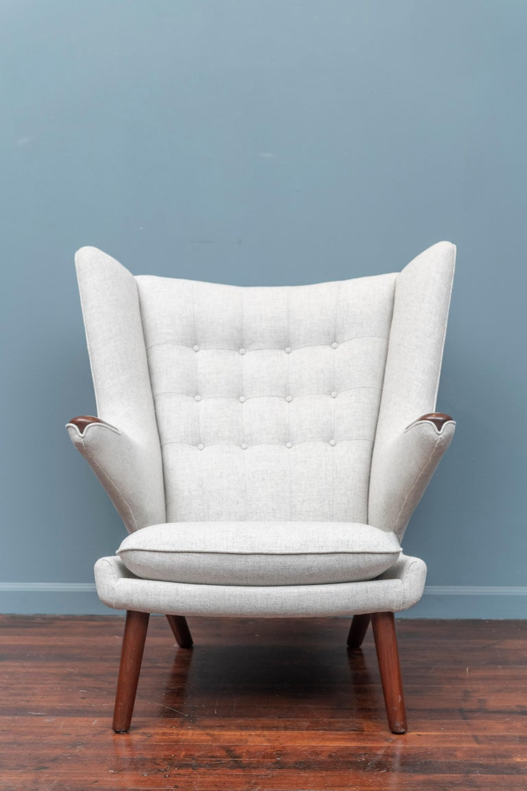 Upholstery Hans Wegner Papa Bear Chair and Ottoman for A.P Stolen For Sale