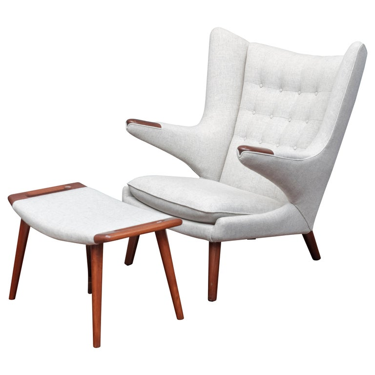 Hans Wegner Papa Bear Chair and Ottoman for A.P Stolen For Sale