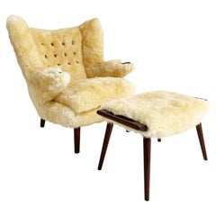Hans Wegner Papa Bear Chair and Ottoman in Sheepskin