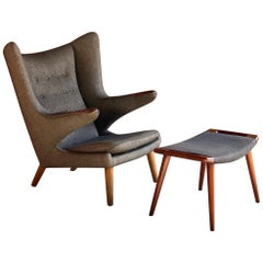 Hans Wegner Papa Bear Chair AP19 & AP29 Ottoman by A.P. Stolen, Denmark, 1959