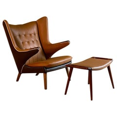 Hans Wegner Papa Bear Chair AP19 & AP29 Stool by A.P. Stolen, Denmark, 1959