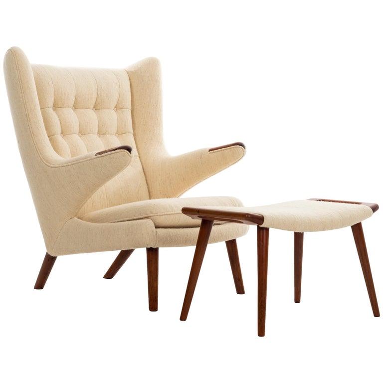 Awe Inspiring Hans Wegner Papa Bear Chair Handwoven Vintage Fabric At 1Stdibs Ibusinesslaw Wood Chair Design Ideas Ibusinesslaworg