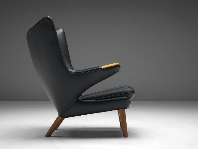Scandinavian Modern Hans Wegner Papa Bear Chair in Black Leather