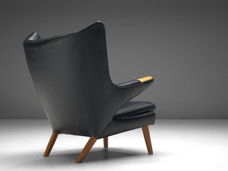 Danish Hans Wegner Papa Bear Chair in Black Leather