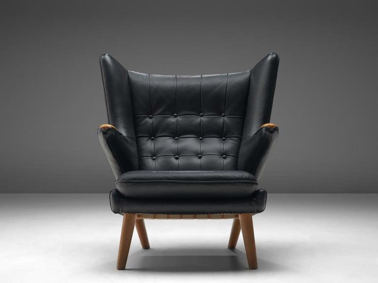 Ebonized Hans Wegner Papa Bear Chair in Black Leather
