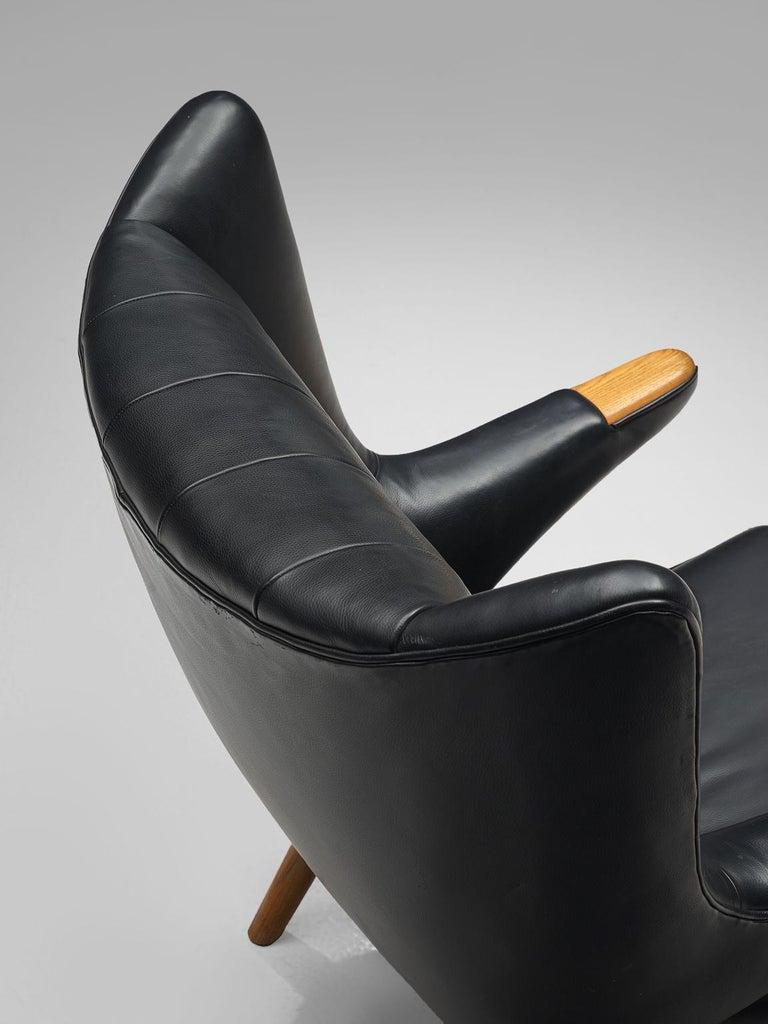 Beech Hans Wegner Papa Bear Chair in Black Leather