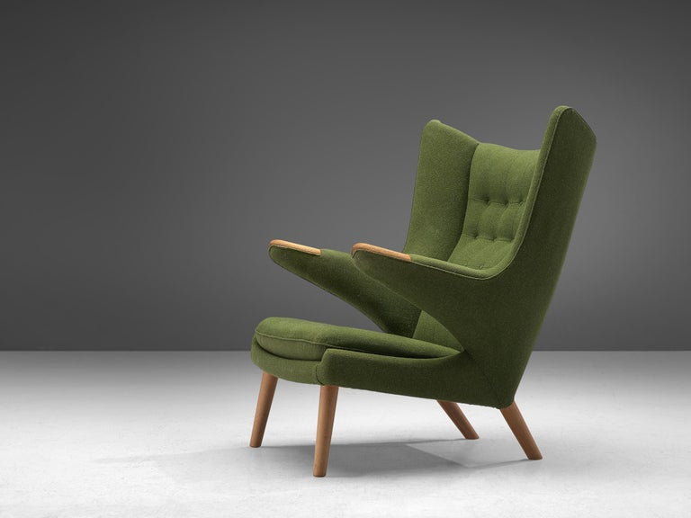 Hans J. Wegner, lounge chair Model AP 19 'Papa Bear, fabric and oak, Denmark, 1951 design, production later, 