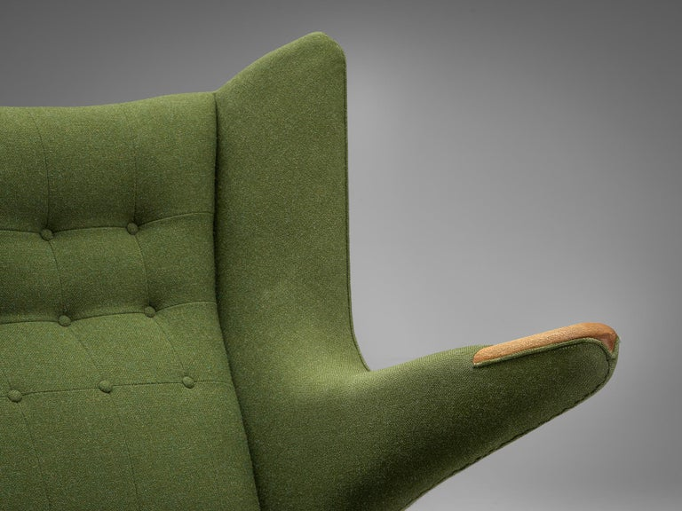 Fabric Hans Wegner Papa Bear Chair in Green Upholstery For Sale