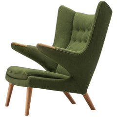 Hans Wegner Papa Bear Chair in Green Upholstery