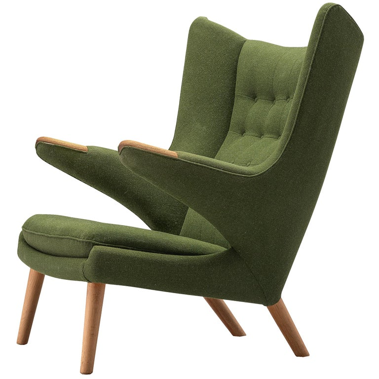 Hans Wegner Papa Bear Chair in Green Upholstery For Sale