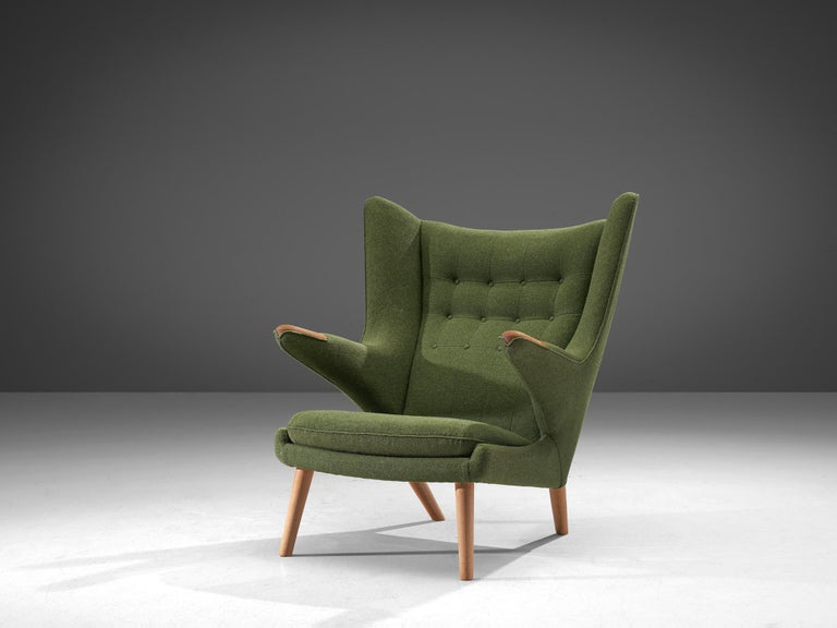 Scandinavian Modern Hans Wegner Papa Bear Chair in Green Upholstery For Sale