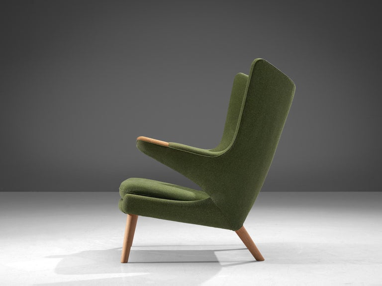Danish Hans Wegner Papa Bear Chair in Green Upholstery For Sale