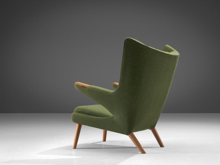 Hans Wegner Papa Bear Chair in Green Upholstery In Good Condition For Sale In Waalwijk, NL