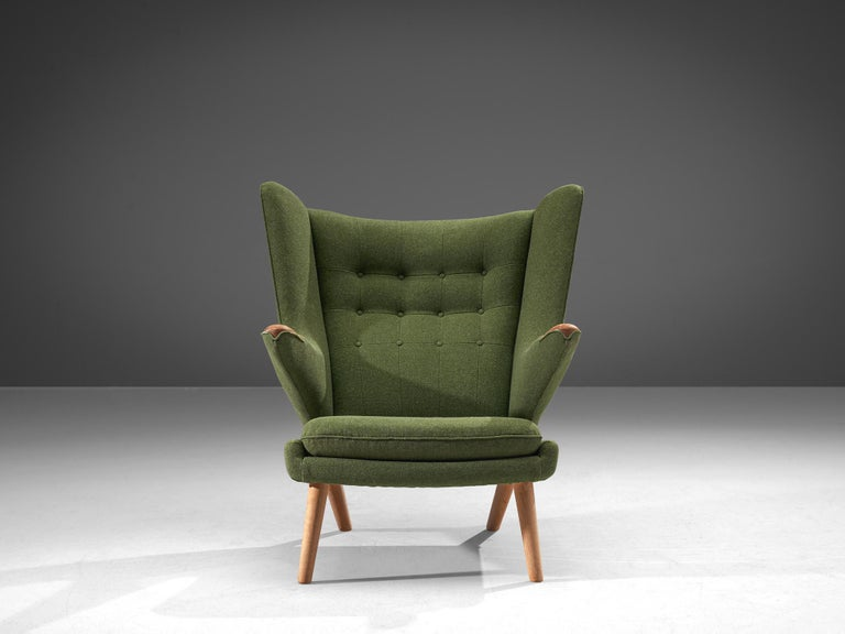 Mid-20th Century Hans Wegner Papa Bear Chair in Green Upholstery For Sale