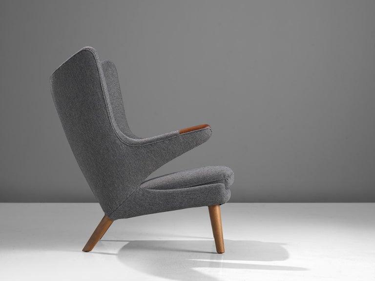 Scandinavian Modern Hans Wegner Papa Bear Chair in Grey Upholstery For Sale
